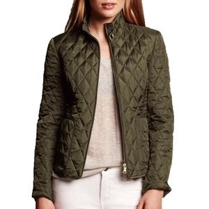 banana republic green quilted field jacket